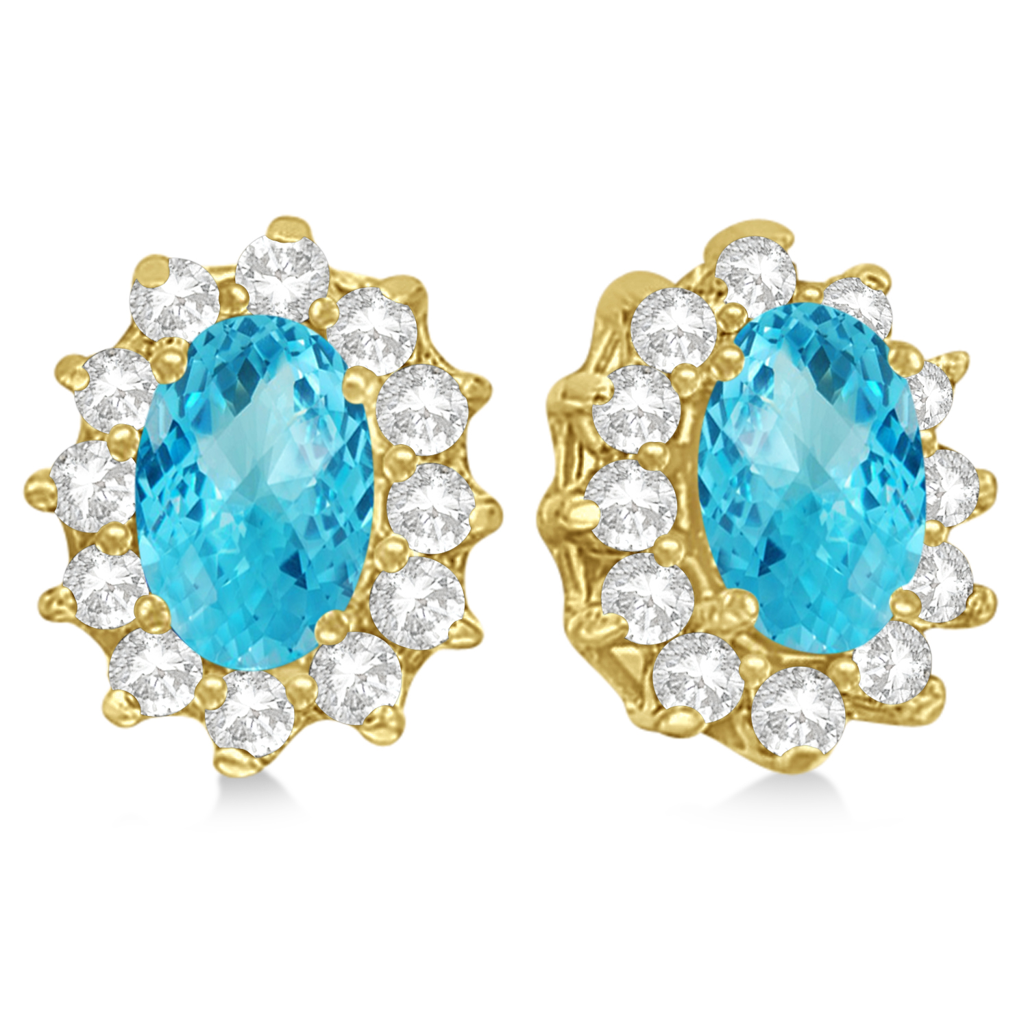 Oval Blue Topaz & Diamond Accented Earrings 14k Yellow Gold (2.05ct)