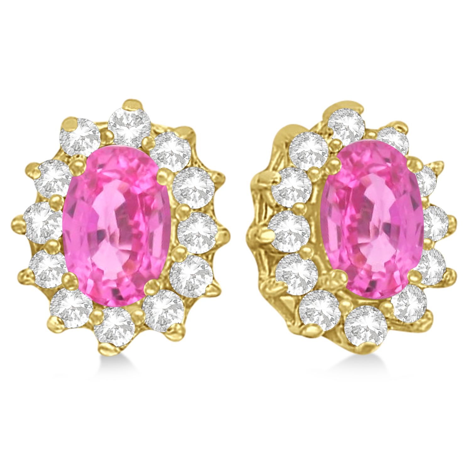 Oval Pink Sapphire & Diamond Accented Earrings 14k Yellow Gold (2.05ct)