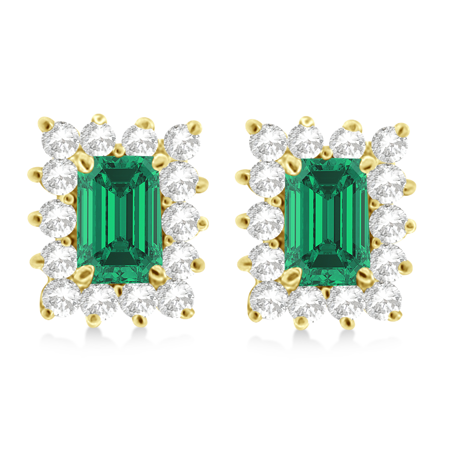 Emerald-Cut Emerald & Diamond Stud Earrings 14k Yellow Gold (1.80ctw)