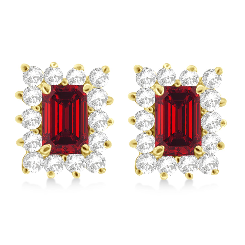 Emerald-Cut Ruby & Diamond Stud Earrings 14k Yellow Gold (1.80ctw)