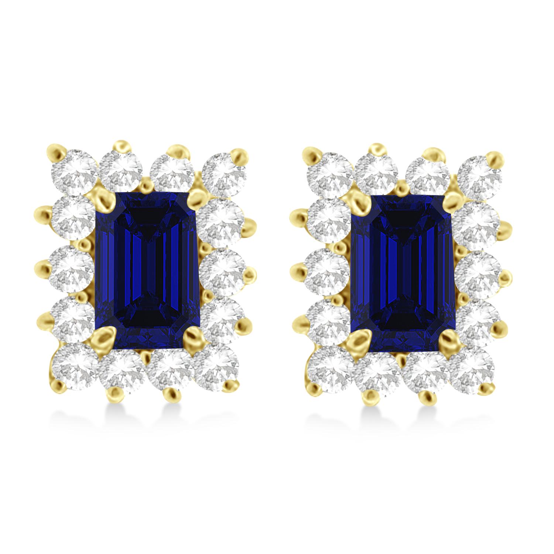 Emerald-Cut Sapphire & Diamond Stud Earrings 14k Yellow Gold (1.80ctw)