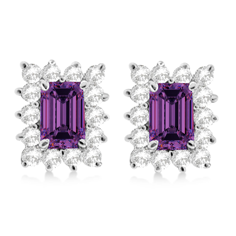 Emerald-Cut Alexandrite & Diamond Stud Earrings 14k White Gold (1.80ctw)