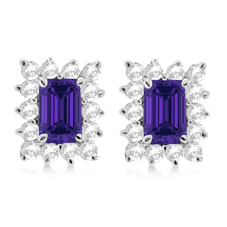 Emerald-Cut Tanzanite & Diamond Stud Earrings 14k White Gold (1.80ctw)