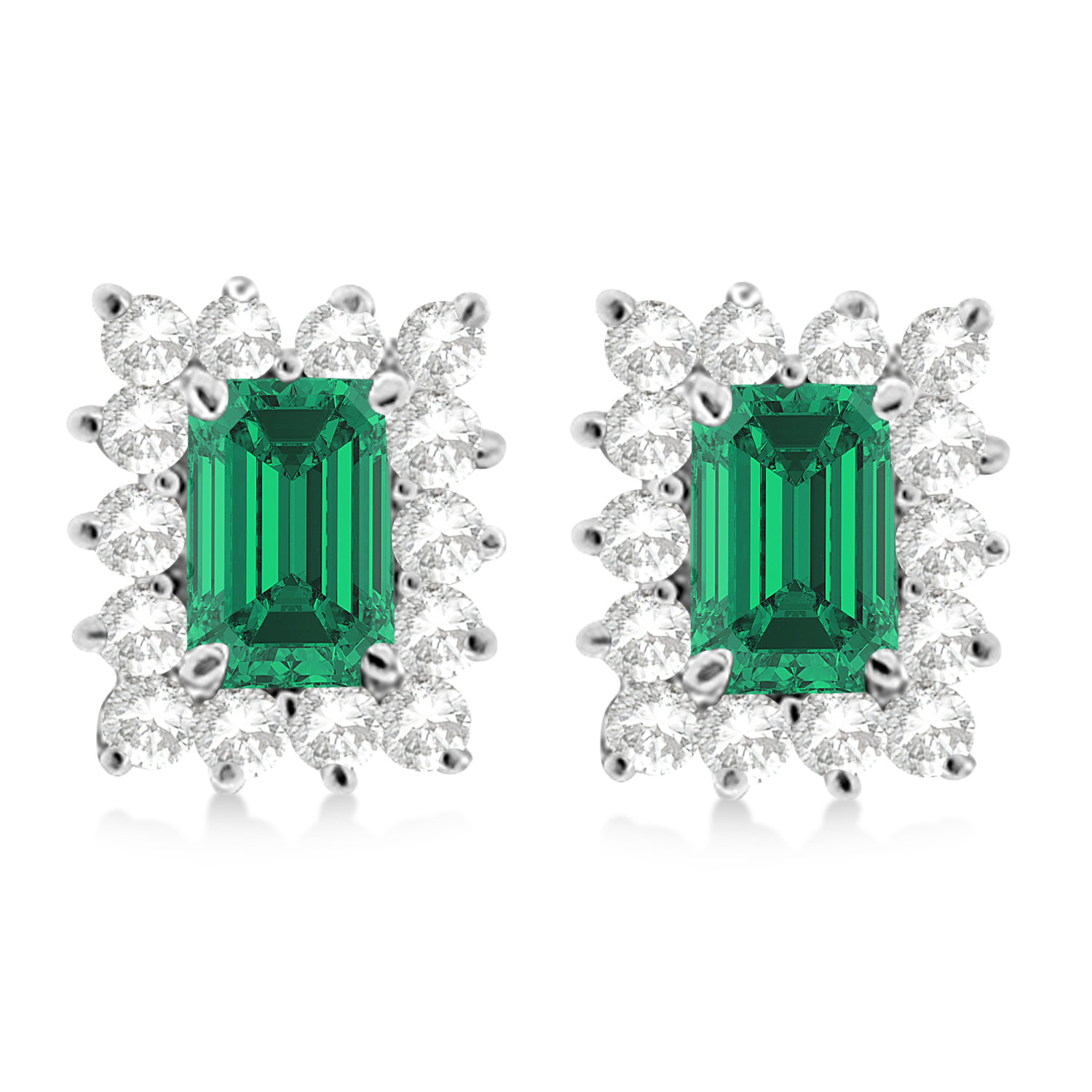 Emerald-Cut Emerald & Diamond Stud Earrings 14k White Gold (1.80ctw)