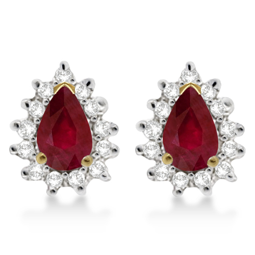 Ruby & Diamond Teardrop Earrings 14k Yellow Gold (1.10ctw)