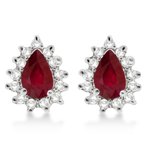 Ruby & Diamond Teardrop Earrings 14k White Gold (1.10ctw)