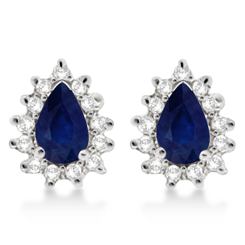 Blue Sapphire & Diamond Teardrop Earrings 14k White Gold (1.10ctw)