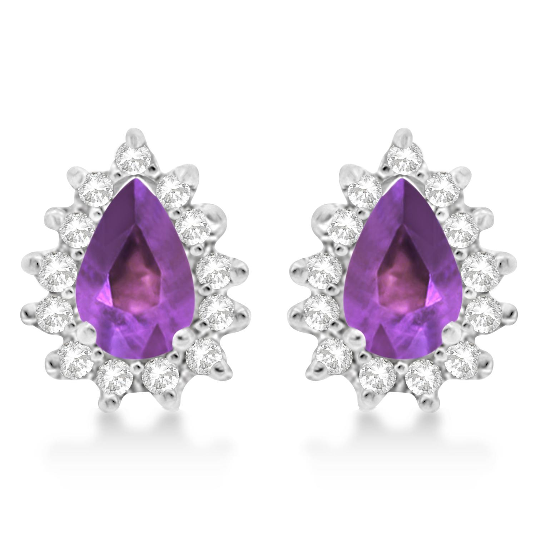 Amethyst & Diamond Teardrop Earrings 14k White Gold (1.10ctw)