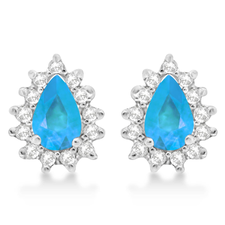 Blue Topaz & Diamond Teardrop Earrings 14k White Gold (1.10ctw)