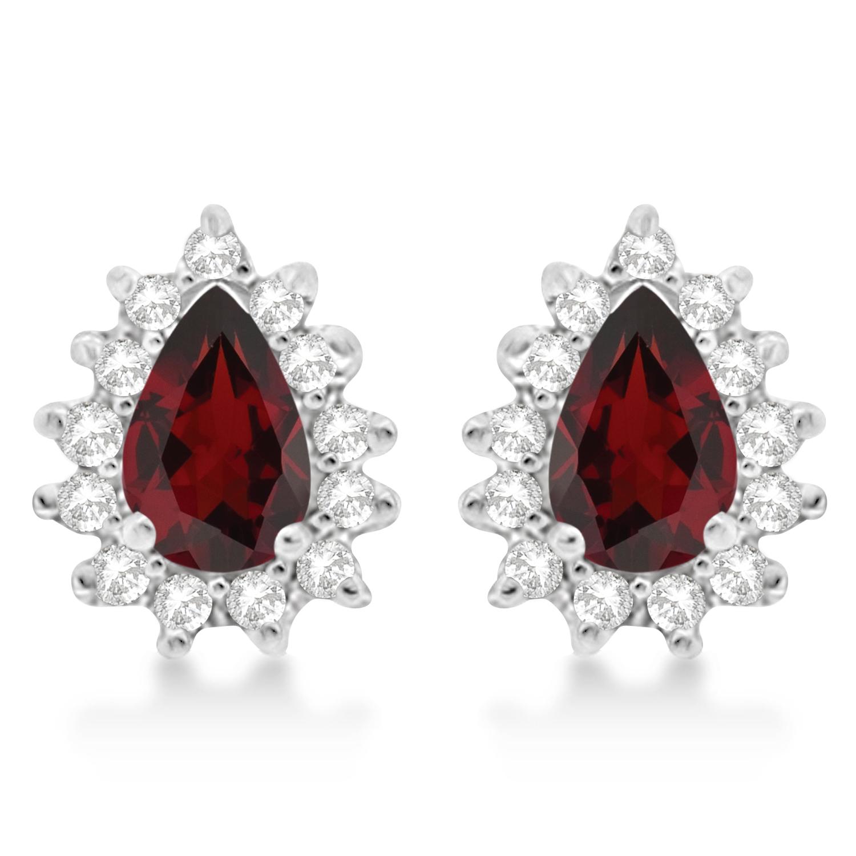 Garnet & Diamond Teardrop Earrings 14k White Gold (1.10ctw)
