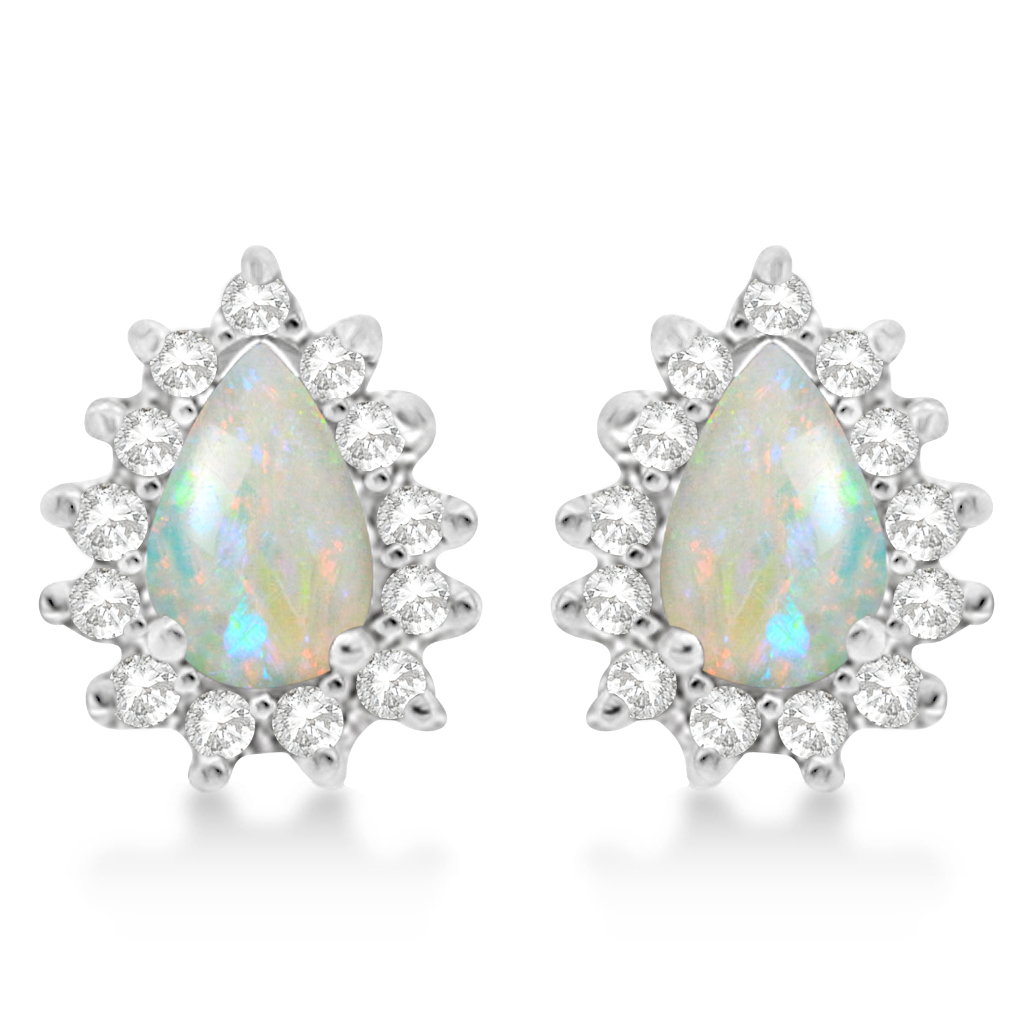 Opal & Diamond Teardrop Earrings 14k White Gold (1.10ctw)