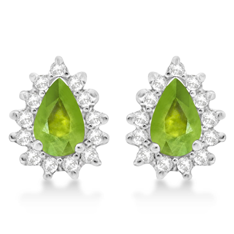 Peridot & Diamond Teardrop Earrings 14k White Gold (1.10ctw)