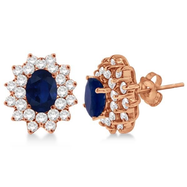 Diamond & Oval Cut Blue Sapphire Earrings 14k Rose Gold (3.00ctw)