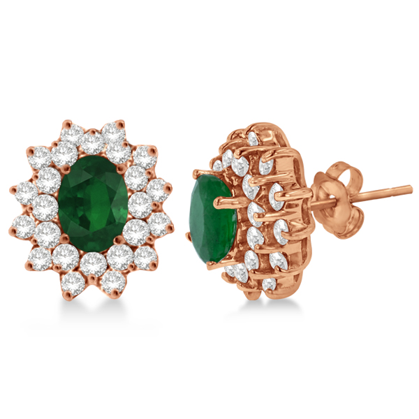 Diamond & Oval Cut Emerald Earrings 14k Rose Gold (3.00ctw)