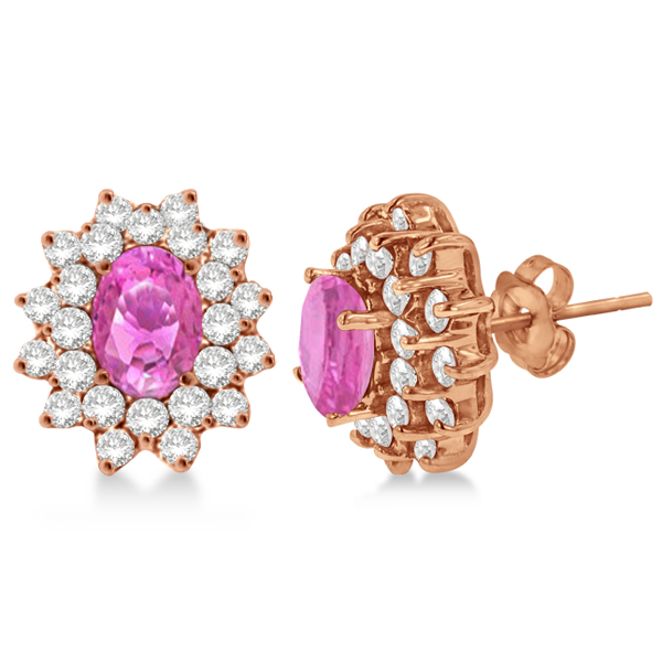 Diamond & Oval Cut Pink Sapphire Earrings 14k Rose Gold (3.00ctw)
