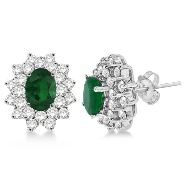 Diamond & Oval Cut Emerald Earrings 14k White Gold (3.00ctw)