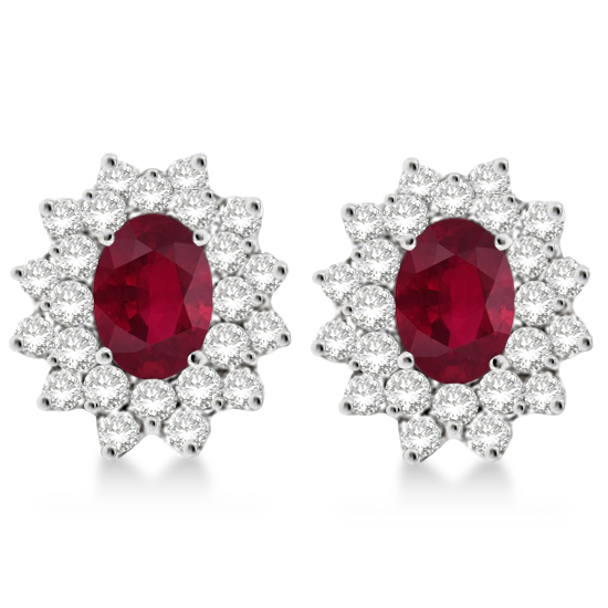 Diamond & Oval Cut Ruby Earrings 14k White Gold (3.00ctw)