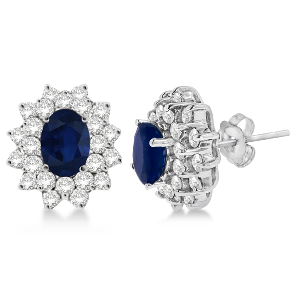Diamond & Oval Cut Blue Sapphire Earrings 14k White Gold (3.00ctw)