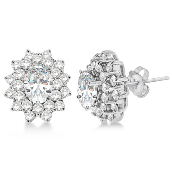 Diamond Oval Cut Moissanite Earrings 14k White Gold
