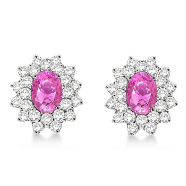 Diamond & Oval Cut Pink Sapphire Earrings 14k White Gold (3.00ctw)