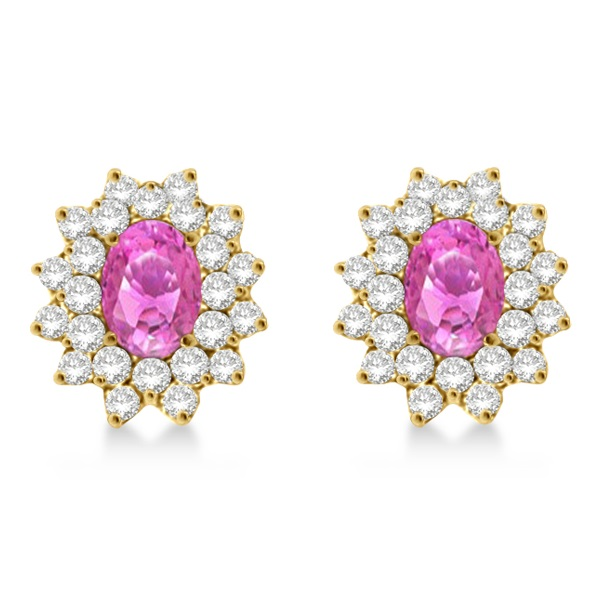 Diamond & Oval Cut Pink Sapphire Earrings 14k Yellow Gold (3.00ctw)