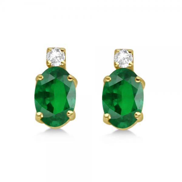 Oval Emerald Stud Earrings with Diamonds 14k Yellow Gold 0.43ct