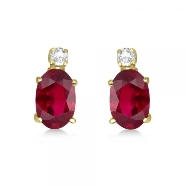 Oval Ruby Stud Earrings with Diamonds 14k Yellow Gold 0.43ct