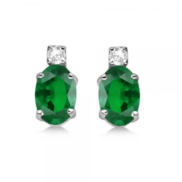 Oval Emerald Stud Earrings with Diamonds 14k White Gold 0.43ct