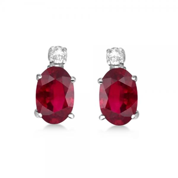 Oval Ruby Stud Earrings with Diamonds 14k White Gold 0.43ct