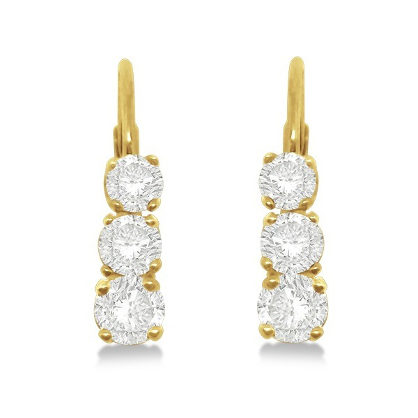 Three-Stone Leverback Diamond Earrings 14k Yellow Gold (0.50ct)