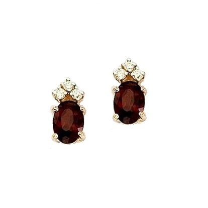Oval Garnet and Diamond Stud Earrings 14k Yellow Gold (1.24ct)