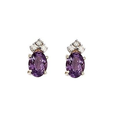 Oval Amethyst and Diamond Stud Earrings 14k Yellow Gold (1.24ct)