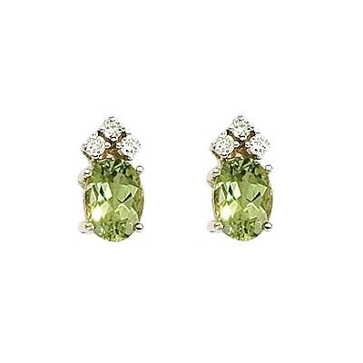 Oval Peridot and Diamond Stud Earrings 14k Yellow Gold (1.24ct)