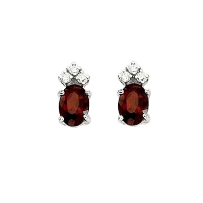 Oval Garnet and Diamond Stud Earrings 14k White Gold (1.24ct)