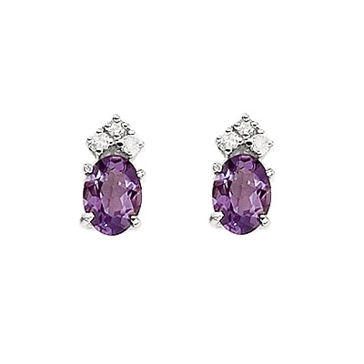 Oval Amethyst and Diamond Stud Earrings 14k White Gold (1.24ct)