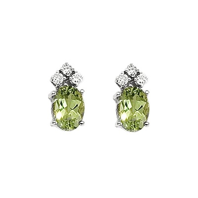 Oval Peridot and Diamond Stud Earrings 14k White Gold (1.24ct)