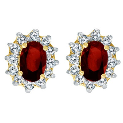 Oval Garnet and Diamond Earrings 14K Yellow Gold (1.25tcw)