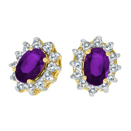 Oval Amethyst and Diamond Earrings 14K Yellow Gold (1.25tcw)
