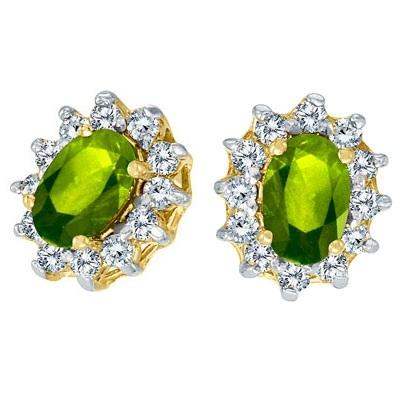 Oval Peridot and Diamond Earrings 14K Yellow Gold (1.25tcw)