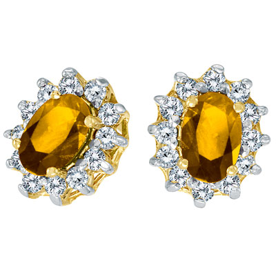 Prong-Set Oval Citrine and Diamond Earrings 14K Yellow Gold (1.25tcw)