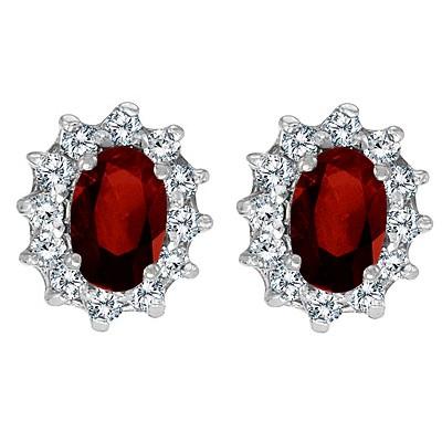 Oval Garnet and Diamond Earrings 14K White Gold (1.25tcw)