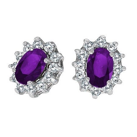 Oval Amethyst and Diamond Earrings 14K White Gold (1.25tcw)