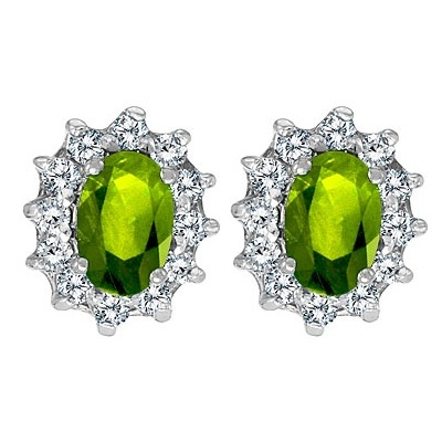 Oval Peridot and Diamond Earrings 14K White Gold (1.25tcw)