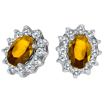 Prong-Set Oval Citrine and Diamond Earrings 14K White Gold (1.25tcw)