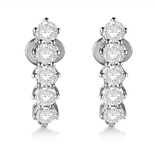 Five Stone Diamond Omega Earrings 14k White Gold (1.00ct)