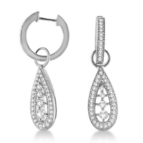 Antique Dangle Drop Teardrop Diamond Earrings 14k White Gold (0.50ct)