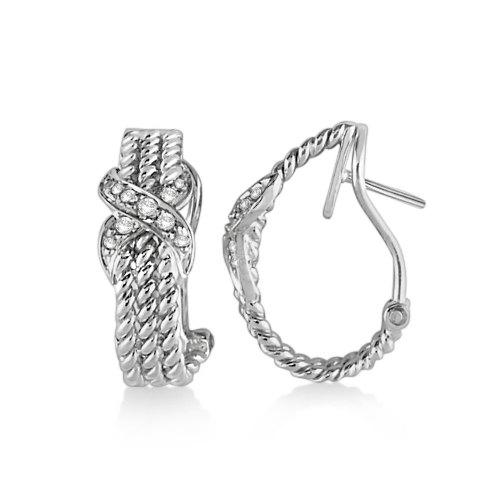 Twisted Knot Omega Diamond Huggie Earrings 14k White Gold (0.20ct)