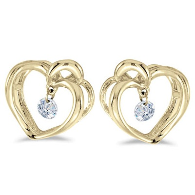 Dashing Diamonds Heart Diamond Earrings 14k Yellow Gold (0.15ct)