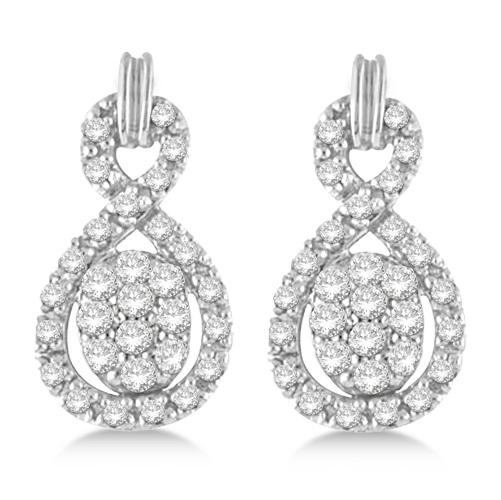Figure Eight Diamond Cluster Drop Earrings 14k White Gold (0.50ct)