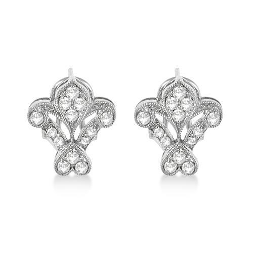 Fleur De Lis Antique Style Diamond Earrings 14k White Gold (0.50ct)